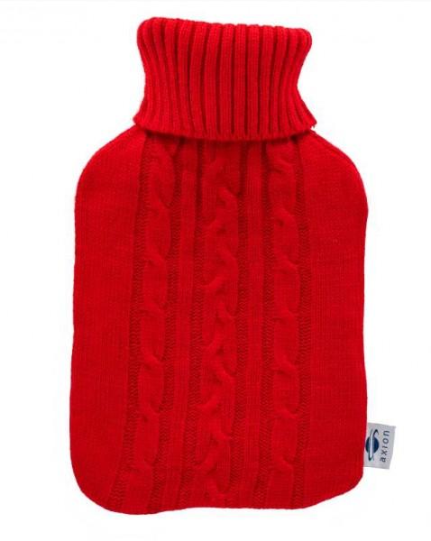 Bolsa de agua caliente con funda tejida roja 33 x 20 cm