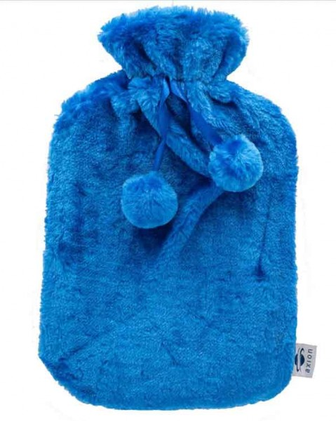 Hot water bottle with cover - blue - 33x20 cm