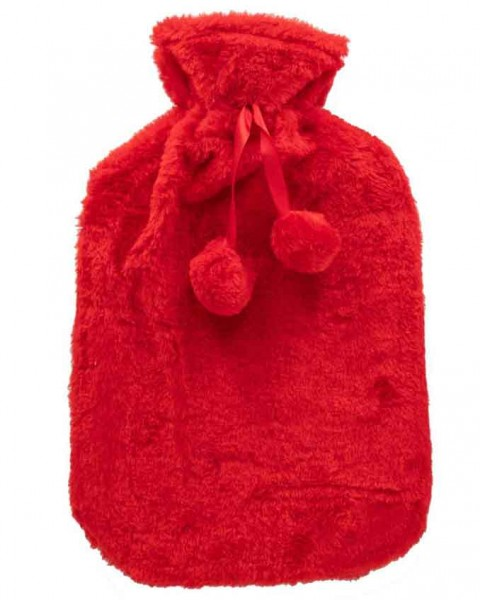 Flauschige Wärmflasche mit Bezug – rot – 33x20 cm