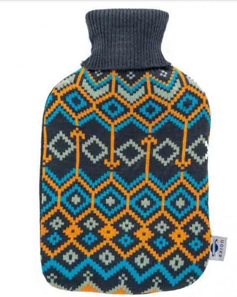 Wärmflasche mit Bezug – dunkelblauer Strick im Diamantmuster – 33x20 cm