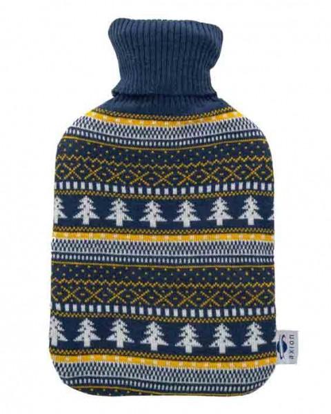 Wärmflasche mit Bezug – dunkelblauer Strick – 33x20 cm